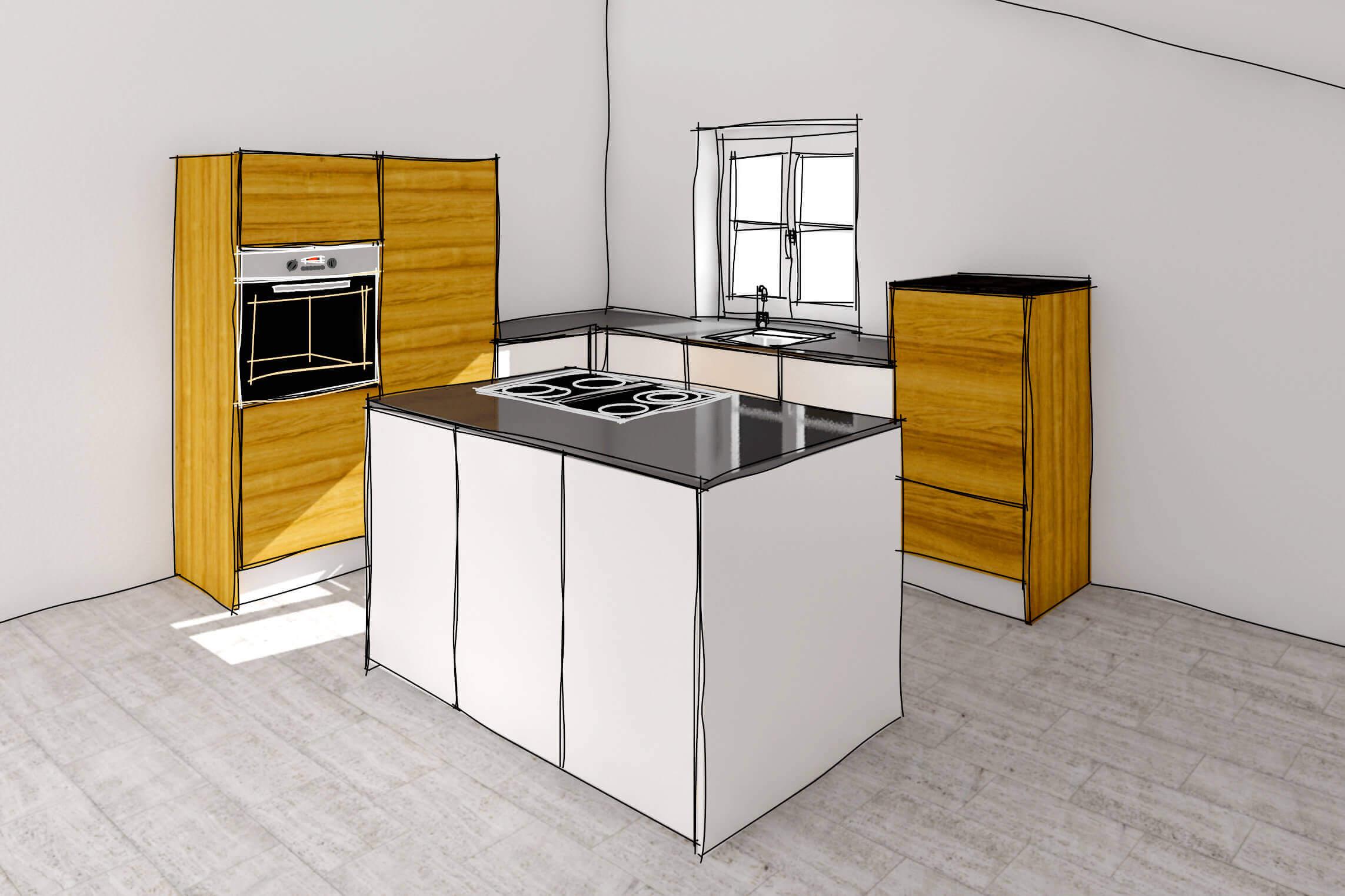 Schreinerei Vierlinger bietet modernste 3D-Visualisierung Ihrer Küche.